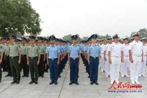 Chinese army commemorate the 77th anniversary of the at the War of People's Resistance Against Japanese Aggression at the Museum of the War of Peoples Resistance Against Japanese Aggression, located near the Lugou Bridge in the southwest of Beijing, where Japan's all-out aggression against China began.  [Photo/People.com.cn]