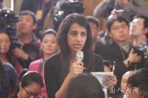 A journalist from Reuters asks a question concerning China's defense budget at the news conference on the second session of the 12th National People's Congress (NPC) held at the Great Hall of the People in Beijing, capital of China, March 4, 2015.