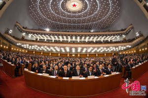 Nearly 3,000 NPC deputies from across the country attended the opening meeting along with top Party and state leaders Xi Jinping, Yu Zhengsheng, Liu Yunshan, Wang Qishan and Zhang Gaoli.