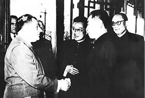 Yan Baohang (first on right), a senior advisor to the Kuomintang government and also a communist agent, accompanies Chinese Premier Zhou Enlai to meet foreign guests in 1955. [File photo]