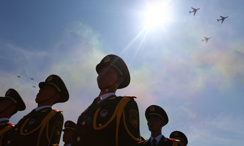 China stages largest air force show for V-Day celebration. In the photo is the bomber echelon. [Xinhua]