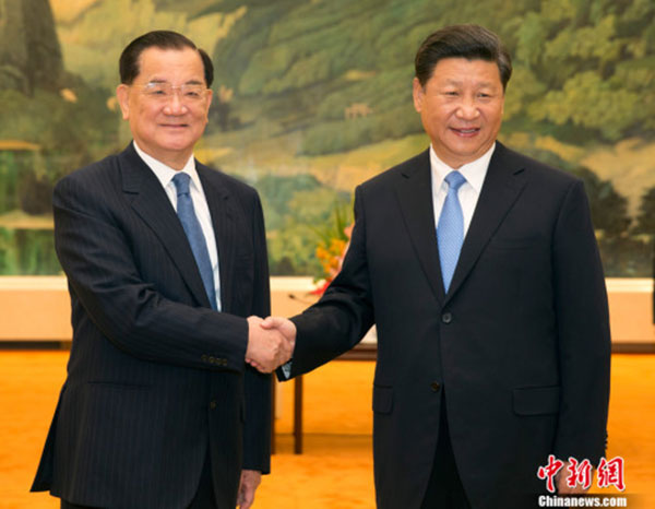 Xi Jinping, general secretary of the Communist Party of China (CPC) Central Committee meets Lien Chan, former chairman of the Kuomintang (KMT) in Beijing on Sept 1, 2015. [Photo/Chinanews.com]