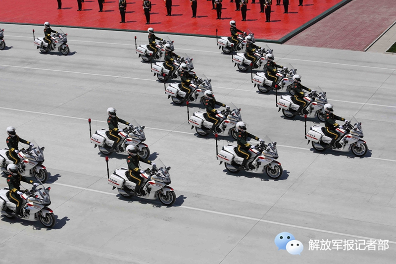 Motorcycle honor guards train for this week's military parade. [PLA Daily]