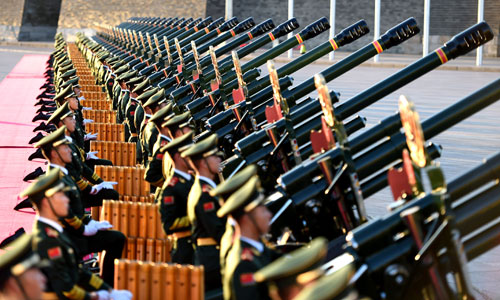 A 70-gun salute is prepared ahead of the commemoration activities.