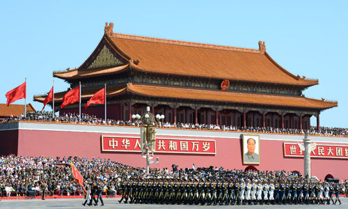 The formation of the guard of honor of the three services of the Chinese People's Liberation Army is inspected on the Tian'anmen Square. [Photo/Xinhua]