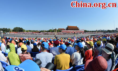 The commemoration activities will start soon in Beijing to mark the 70th anniversary of the victory of the Chinese People's War of Resistance Against Japanese Aggression and the World Anti-Fascist War, Sep. 3, 2015. [Photo/Xinhua]