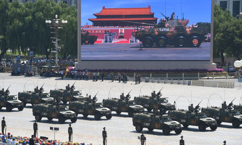 In the photo is the formation of light assault vehicles. [Photo/Xinhua]