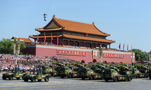 In the photo is the second formation of ground-to-air missiles. [Photo/Xinhua]