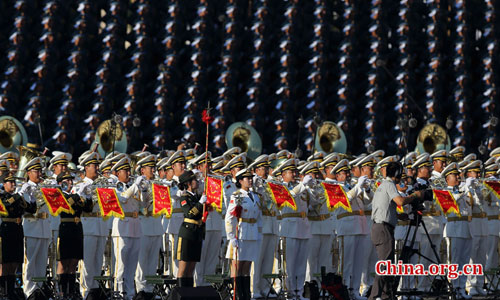 The PLA Military Band prepares for the commemoration activities to mark the 70th anniversary of the victory of the Chinese People's War of Resistance Against Japanese Aggression and the World Anti-Fascist War, Sep. 3, 2015. [Photo by Chen Weisong/China.org.cn]