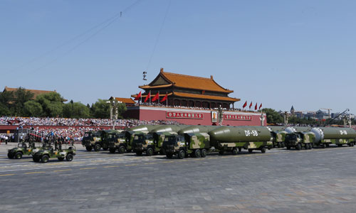 In the photo is the second formation of nuclear missiles. [Photo/Xinhua]