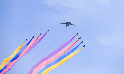 China stages largest air force show for V-Day celebration. In the photo is the leading aircraft echelon. [Xinhua]