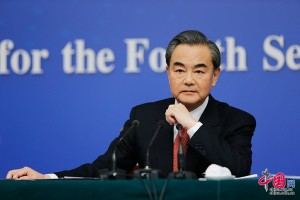 Chinese Foreign Minister Wang Yi gives a news conference on the sidelines of the ongoing session of the National People's Congress in Beijing on Tuesday, March 8, 2016.