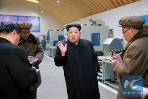 North Korean leader Kim Jong Un visits Taeseung machinery factory in the undated photo released by North Korea's Korean Central News Agency (KCNA) in Pyongyang on March 2, 2016. [Photo/Xinhua]