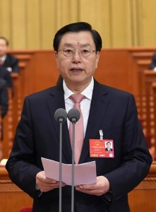 Zhang Dejiang, chairman of the Standing Committee of China's National People's Congress (NPC), presides over the closing meeting of the fourth session of the 12th NPC at the Great Hall of the People in Beijing, capital of China, March 16, 2016.