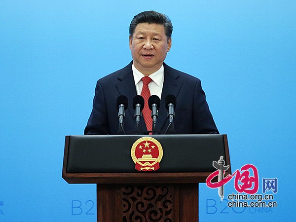 Chinese President Xi Jinping delivers a keynote speech at the Business 20 (B20) summit in Hangzhou, capital of east China's Zhejiang Province, Sept. 3, 2016. [Photo/China.org.cn]