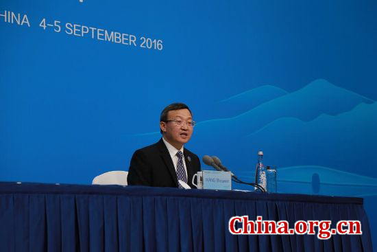Chinese Vice Minister of Commerce Wang Shouwen holds a press conference on Saturday prior to the G20 meeting. [He Shan/China.org.cn]